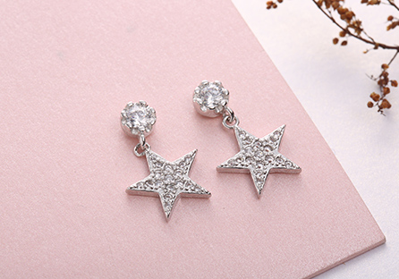 時尚個性五角星鋯鑽 耳針/黏式耳環