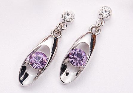 銀白時尚幾何亮鑽黏式耳環
