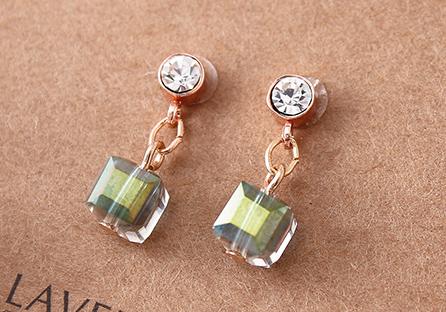 愛情魔方多彩玻璃 耳針/黏式耳環