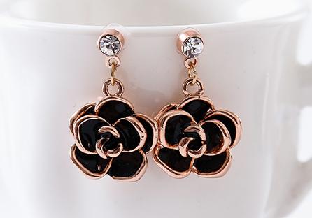 典雅鍍金黑玫瑰 耳針/黏式耳環