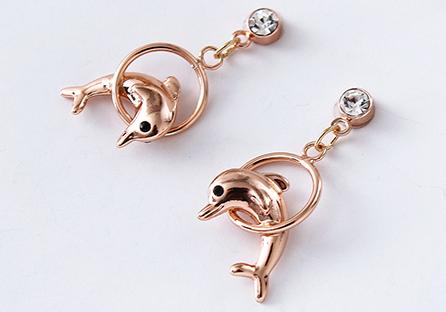 可愛鍍金小海豚 耳針/黏式耳環