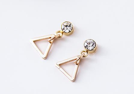 極簡幾何精緻三角 耳針/黏式耳環
