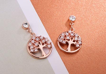 個性時尚鑲鑽小樹 耳針/黏式耳環