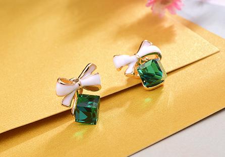 浪漫方塊水晶蝴蝶結 耳針/黏式耳環