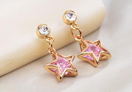 閃亮氣質鑽石星星 耳針/黏式耳環