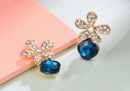 耀眼鑲鑽水晶花朵 耳針/黏式耳環