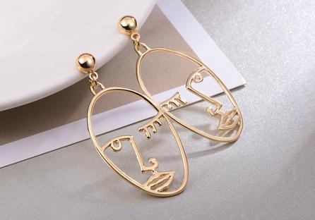 個性簍空手掌合金黏式耳環