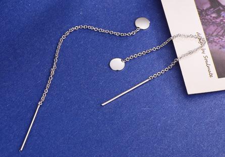 韓系一字鏈條流蘇黏式耳環
