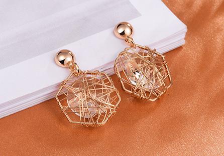 六角鐵絲纏繞水鑽黏式耳環