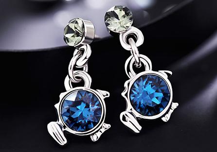璀璨十二星座水晶黏式耳環