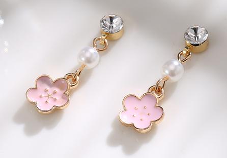 浪漫唯美粉嫩櫻花 耳針/黏式耳環