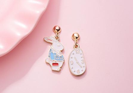 愛麗絲鐘錶與兔子 耳針/黏式耳環