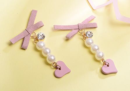 粉嫩蝴蝶結珍珠心型 耳針/黏式耳環