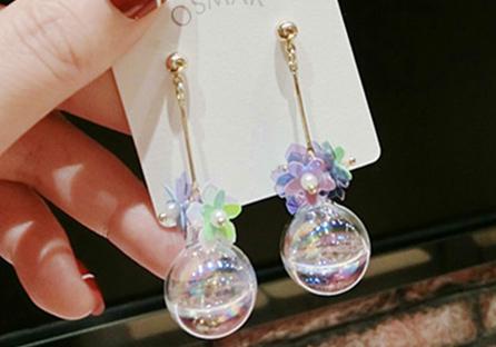 韓版玻璃球花朵 耳針/黏式耳環