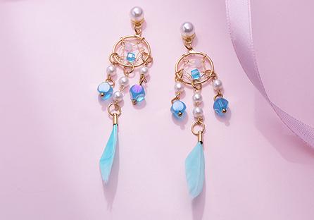 珍珠風鈴羽毛流蘇 耳針/黏式耳環