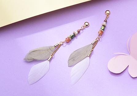 韓版長款氣質羽毛流蘇 耳針/黏式耳環