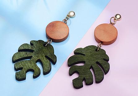 木質龜背葉 耳針/黏式耳環