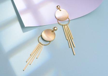 簡約金屬流蘇 耳針/黏式耳環