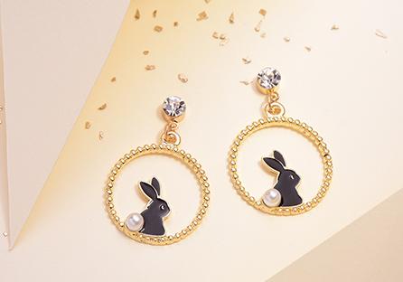 甜美可愛黑白小兔 黏式耳環