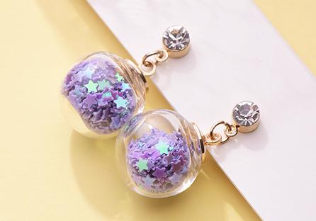 透明玻璃球閃耀亮片 耳針/黏式耳環