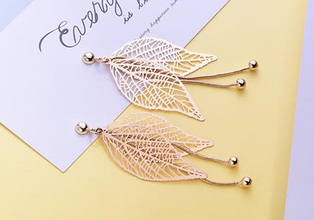 復古簍空長款樹葉流蘇 耳針/黏式耳環
