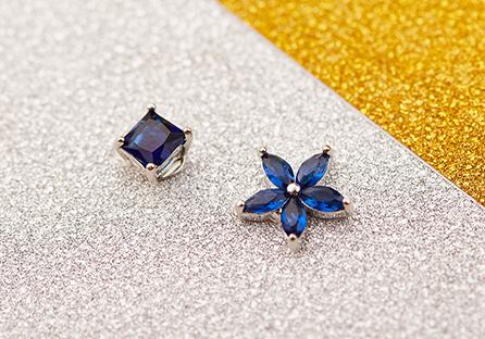 韓版不對稱方鑽花瓣 黏式耳環