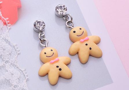 甜甜薑餅人黏式耳環
