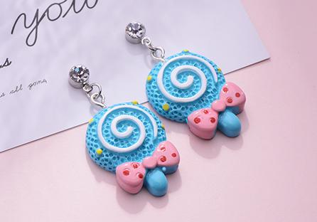 甜蜜蝴蝶結棒棒糖黏式耳環