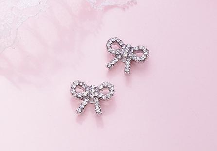 精緻小巧蝴蝶結滿鑽 黏式耳環
