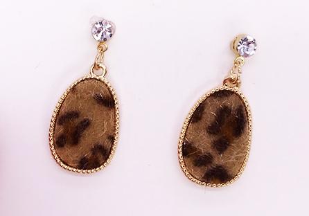 韓版豹紋幾何圖形黏式耳環