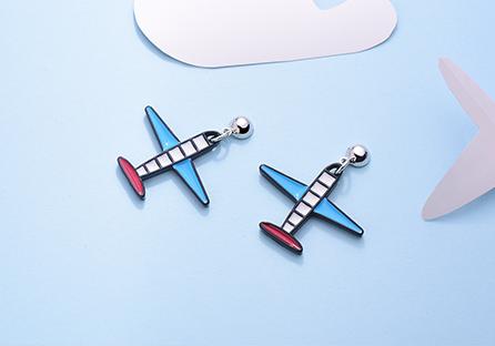 創意卡通飛機 黏式耳環