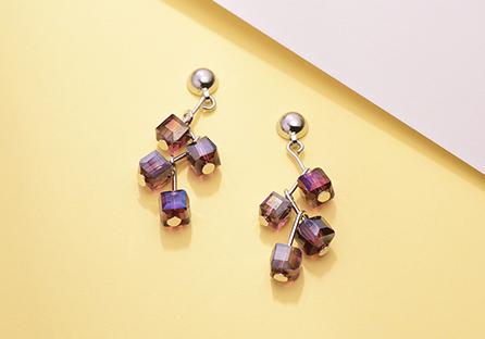 樹狀立體方形水晶 耳針/黏式耳環