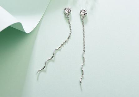 極簡螺旋線狀鑲鑽 黏式耳環