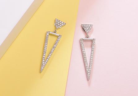 氣質簡約精緻三角形鑲鑽 黏式耳環
