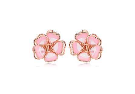 甜美立體雙層櫻花 黏式耳環