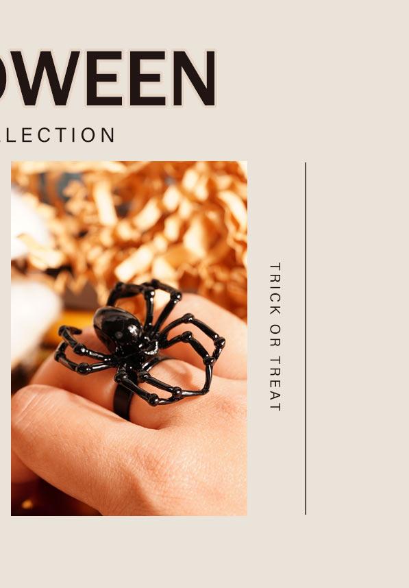 萬聖節限定-個性哥德風蜘蛛/翼龍開口戒指
