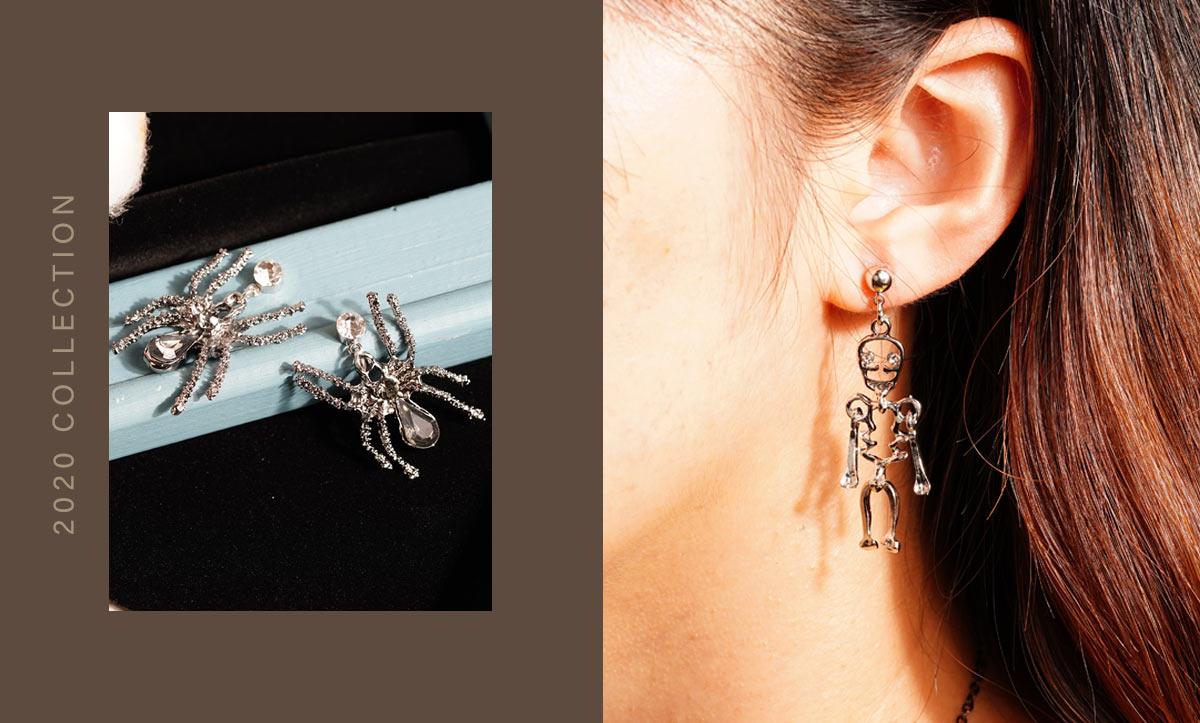 萬聖節限定-搞怪蜘蛛幽靈骷髏 針式/無耳洞黏貼式耳環