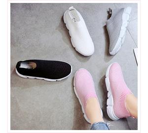純色透氣網布休閒懶人鞋