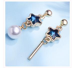 藍鑽五角星珍珠 耳針/黏式耳環