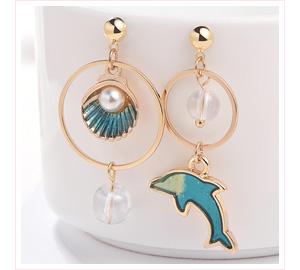 海豚珍珠貝殼 耳針/黏式耳環