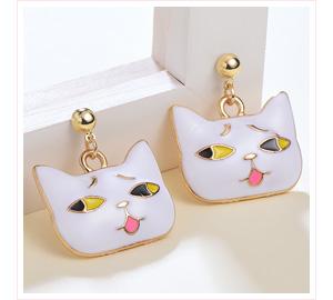 可愛卡通表情貓咪 黏式耳環