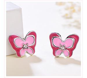 桃粉鑲鑽雙層蝴蝶 黏式耳環