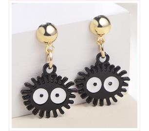 可愛卡通小黑炭 黏式耳環