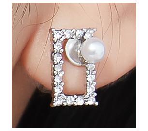 珍珠簍空鑲鑽方形 黏式耳環