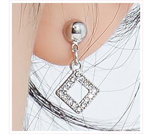簡約簍空鑲鑽菱形 黏式耳環