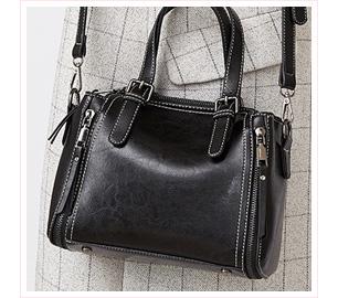 復古油蠟皮雙拉鏈側背手提包