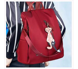 簡約純色貓咪防盜後背包
