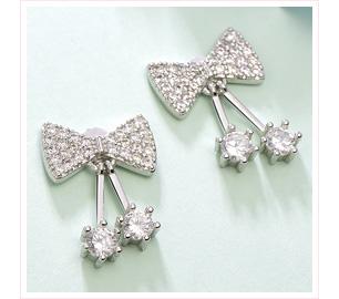 可愛甜美蝴蝶結水鑽 黏式耳環