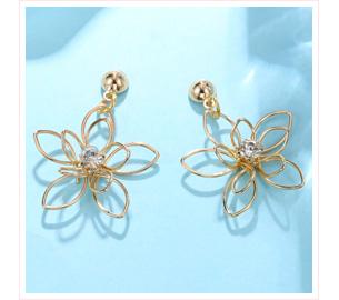 立體編織簍空花朵 黏式耳環