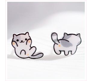 可愛萌寵小貓 黏式耳環